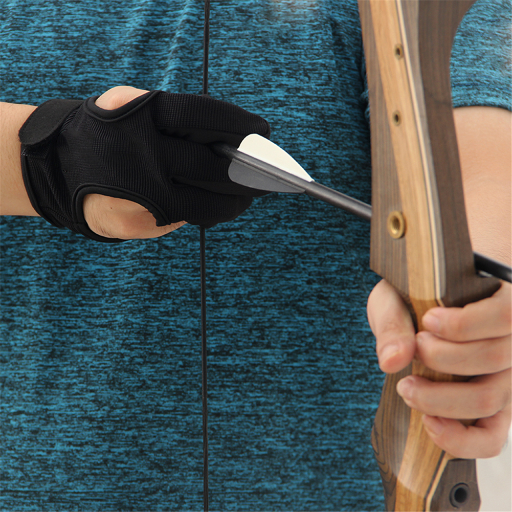 Three Finger Archery Protector Bow Shooting Glove 3