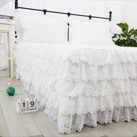 Korean princess 5 cake layers bed skirt white 100% pure cotton embroidered покрывало 40/45cm height bed apron free shipping YYX