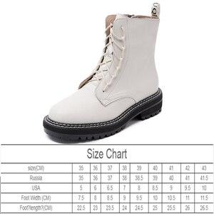 Image 3 - AIYUQI bottes femme 2020 en cuir véritable femmes chaussons à lacets blanc hiver femmes chaussures anti dérapant fille Martin bottes