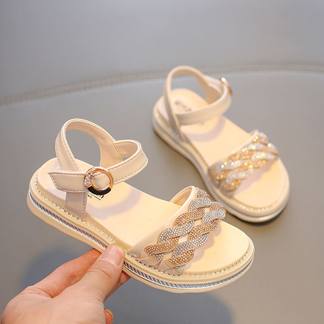 Babaya Children's Sandals Girls Fashion Shoes Crystal Princess Shoes 2020 Summer New Non-Slip Student's Beach Sandals