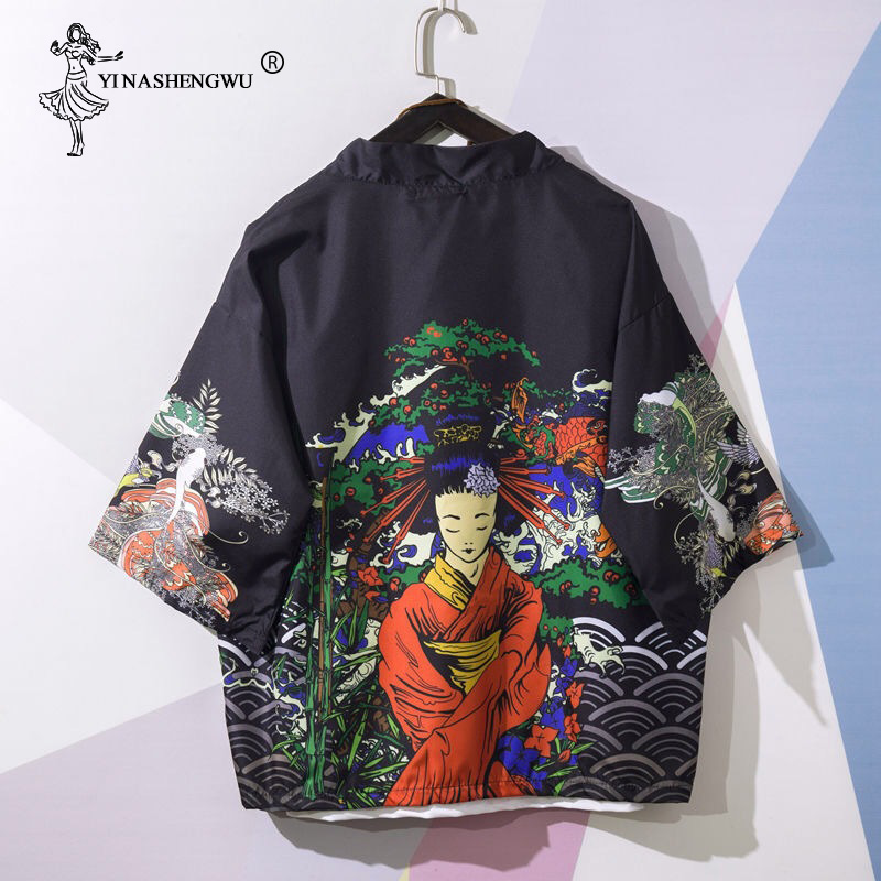 Yukata Women Kimonos Cardigan Men Japanese Kimono Traditional Unisex Harajuku Beach Loose Thin Shirt Asian Japan Cartoon Cosplay