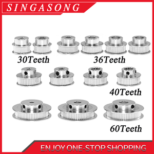 1pcs New GT2 Timing Pulley 30 36 40 60 Tooth Wheel Bore 5mm 8mm Aluminum Gear Teeth Width 6mm Parts For Reprap 3D Printers Part(China)