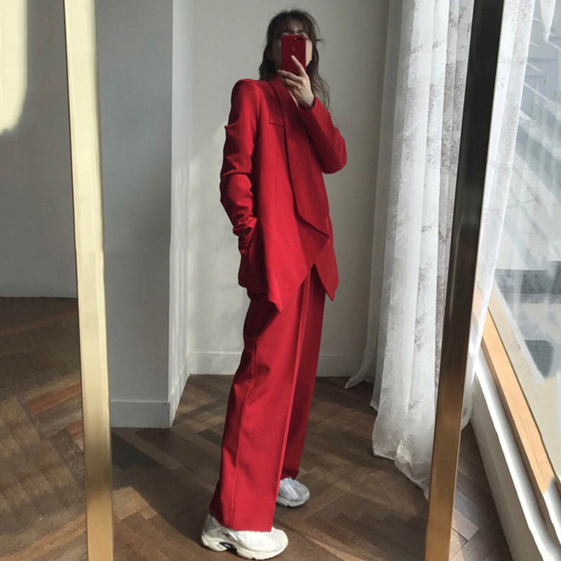 2020 Casual 2 Piece Set Outfits Cardigan Irregular Blazer Female+Long Trousers Pant Suit Woman Spring Autumn Red Blazer Suit