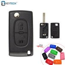 Okeytech, capa de chave de carro remota, com 2 botões para peugeot 206 207 307 308 207 407 para citroen c2 c3 c4 c5 c6 escudo de chave dobrável