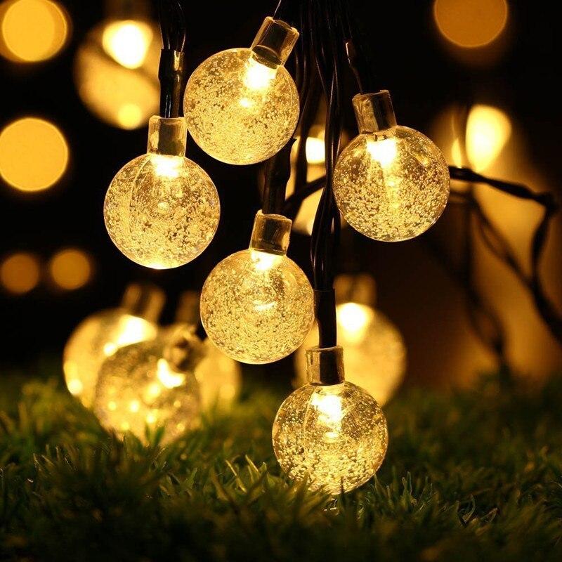 4 / 6M 20/30 LED Solar Foam String Lights Christmas Tree Fairy Wedding Party Decoration Light Bulbs Bedroom Garden Lighting