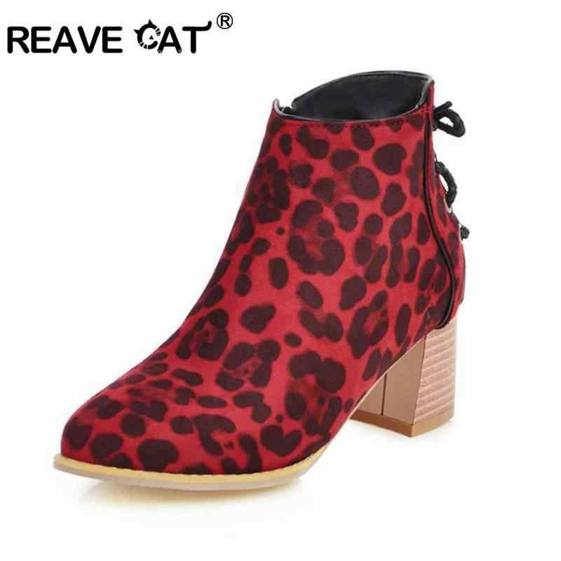 REAVE kedi kadın yarım çizmeler sivri burun suni deri kare Tchik topuk leopar baskı fermuar rahat büyük boy 31-43 siyah sonbahar