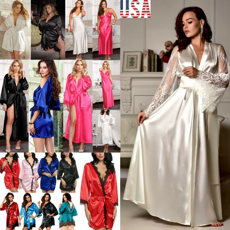 Fashion Women's Silk Satin Robe  Sleepwear Bathrobe Bandage Sexy Lace V-Neck Girls Robes Summer