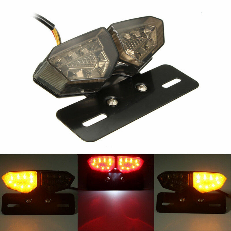 Motorcycle Taillight Tail Light Turn Signal Rear Brake Light License Plate Flasher 12V LED For Honda Yamaha Kawasaki Motocross