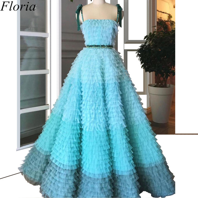 New Arrival Mint Green Prom Dresses Spaghetti Sexy Summer Beach Evening Dresses 2019 Tiered Celebrity Gowns With Sashes Pregnant 4