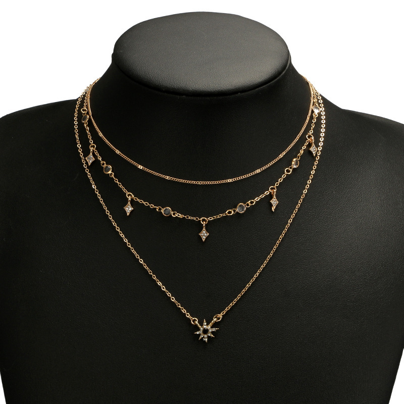 Laramoi Women's Necklace Multilayered Golden Clavicle Chain Stars Geometric Rhinestone Pendant Party Jewelry 2
