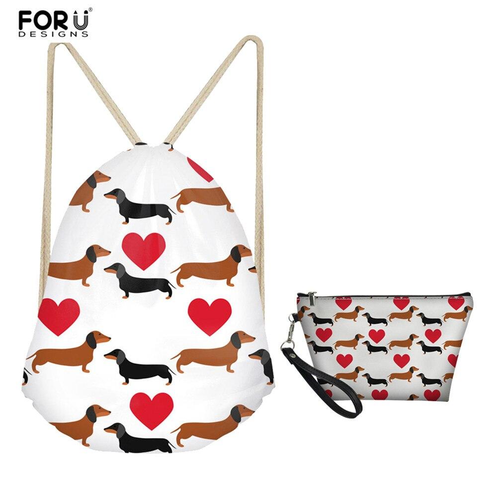 FORUDESIGNS Cute Dachshund Pattern Travel Accessories Drawstring Bag Sets 2 Piece For Women Men Shoulder Backpack Girls Boys Bag
