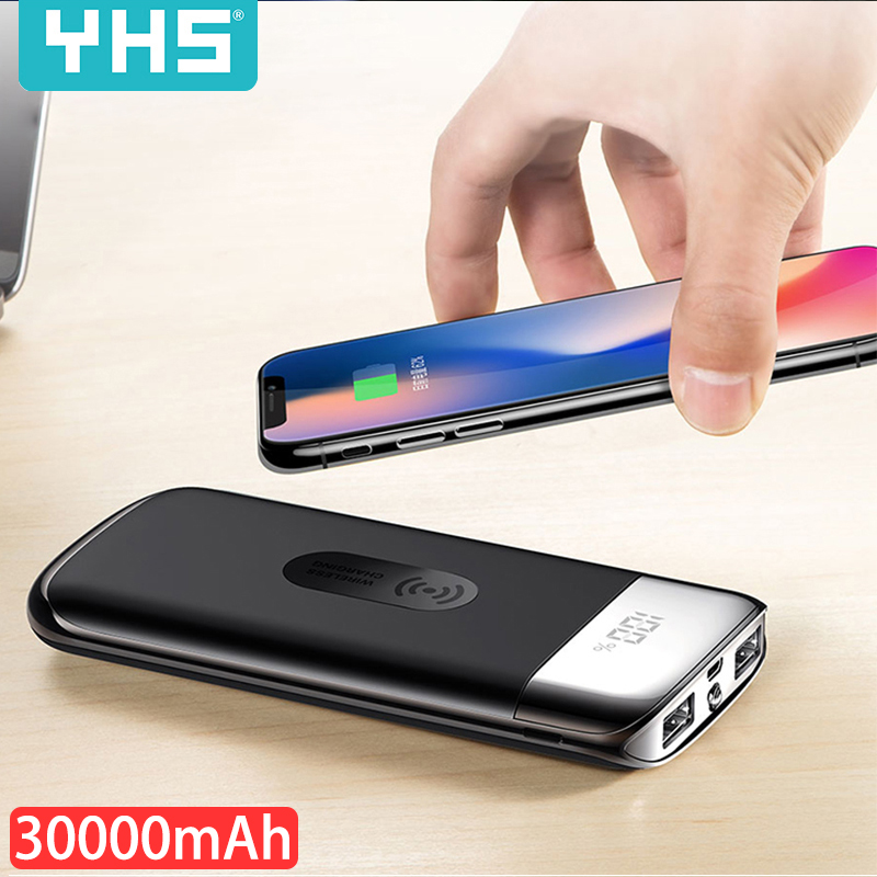 30000mah Power Bank External Battery Bank Built-in Wireless Charger Powerbank Portable QI Wireless Charger For IPhone 8 Samsung