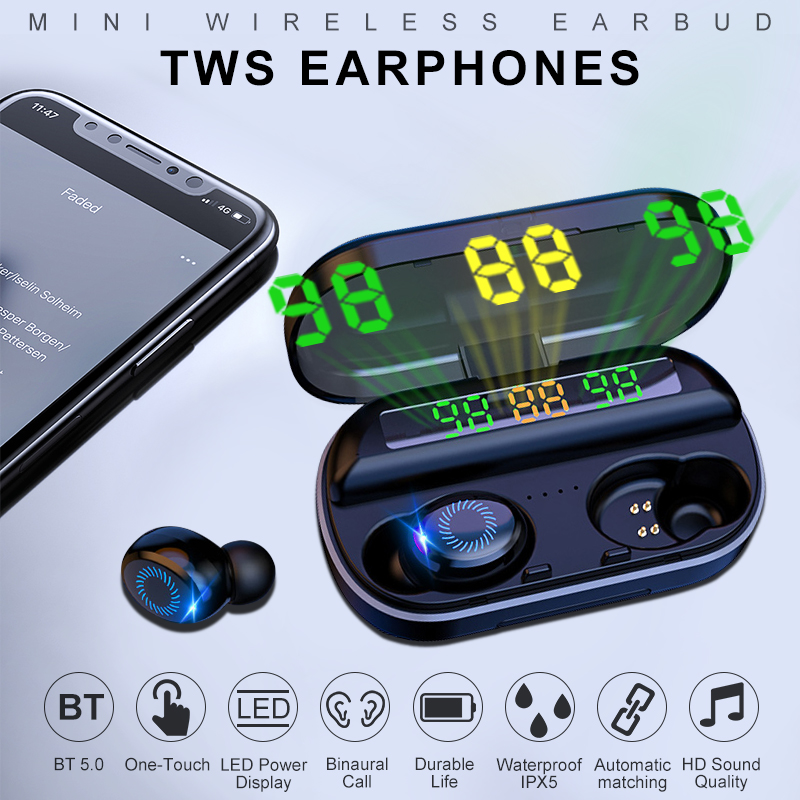 VTIN A80 TWS <font><b>Earphones</b></font> Mini Wireless Earbud with LED Display <font><b>8D</b></font> Stereo Sport <font><b>Earphone</b></font> IPX5 Waterproof Earbuds For IOS Android image
