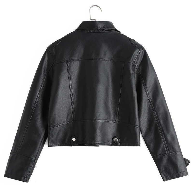 נשים אופנוע עור מעיל קצר עיצוב דמוי עור Biker מעיל מזדמן בסיסי להאריך ימים יותר ורוד שחור PU מפציץ מעילי