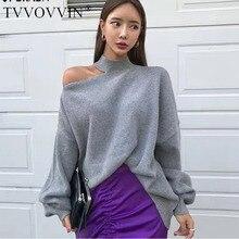 Tvvovwin корейский свитер с длинным рукавом свитер для женщин осень зима необычный женский свитер сплошной цвет трикотажные топы F262