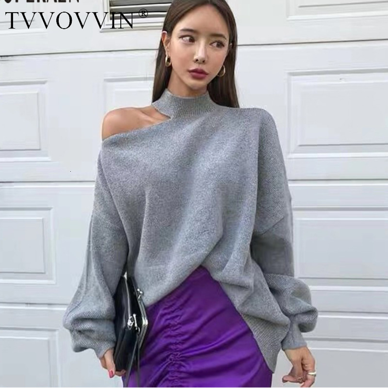 TVVOVVIN Korean Off Shoulder Pullovers Sweater Women 2019 Autumn Winter New Irregular Ladies Sweater Solid Color Knit Tops F262