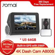 70mai 4K A800S kamera na deskę rozdzielczą prawdziwa kamera 4K wideorejestrator samochodowy kamerka samochodowa wbudowana GPS ADAS przednia tylna podwójna wizja 24H osłona parku