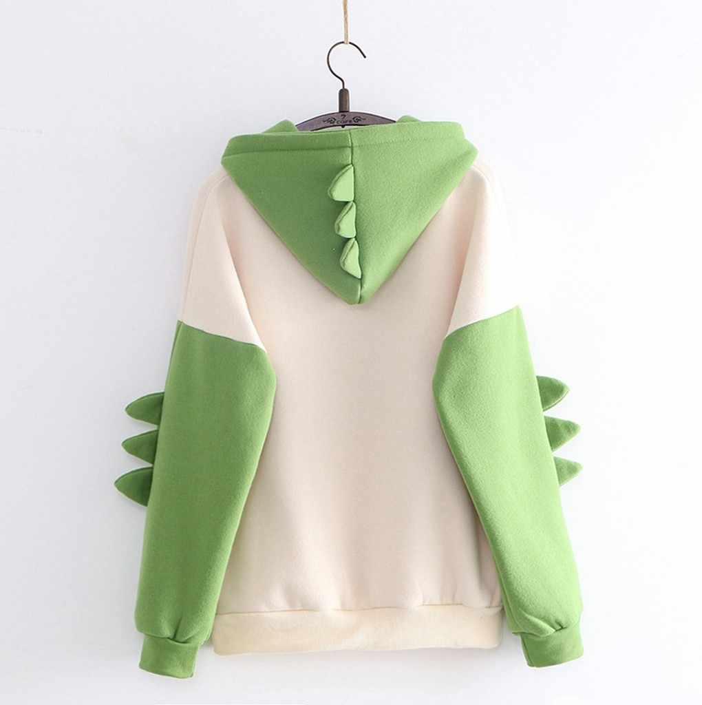 Splice Dinosauro Felpa Cute Girl Donne Casual Stampa Manica Lunga Magliette E Camicette Streetwear Felpe Sudaderas Para Mujer # T2G