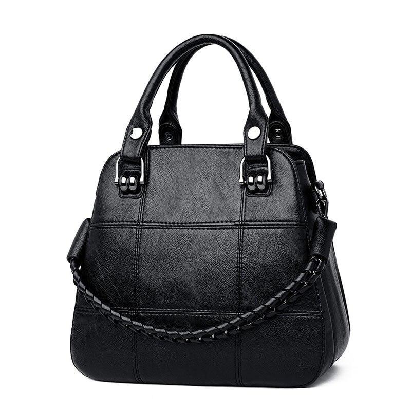 Image 2 - Black Paid Women Casual Totes Bag Female Handbags Large Big Size  Woman Shoulder Bag for Ladies Vintage Genuine Leather Hand  BagsTop-Handle Bags