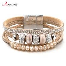 Amorcome многослойные кожаные браслеты для женщин с магнитной