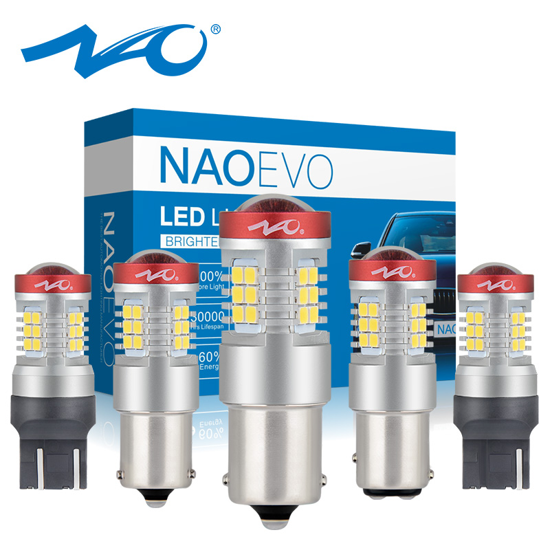 NAO P21W LED PY21W BA15S T20 W21/5W 7443 P21/5W 1300LM Car LED Light Bulb 7440 BAY15D DRL W21W 1157 Red White Amber 12V 1156