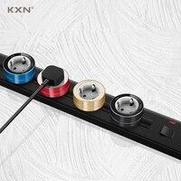 KXN-conector de doble vía de alimentación extraíble para pared, enchufes de cocina montados en la pared con adaptadores múltiples con interruptor para UE y Reino Unido, serie P1