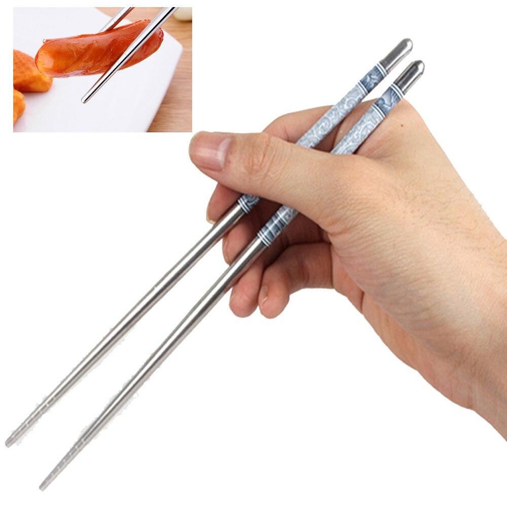 Палочки для еды многоразовые из нержавеющей стали, 23 см, 819 дюйма, 1 пара