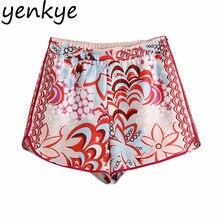 YENKYE tótem pantalones cortos con estampado Floral de las mujeres de cintura alta, pantalón corto Casual pantalones de verano pantalones cortos de mujer