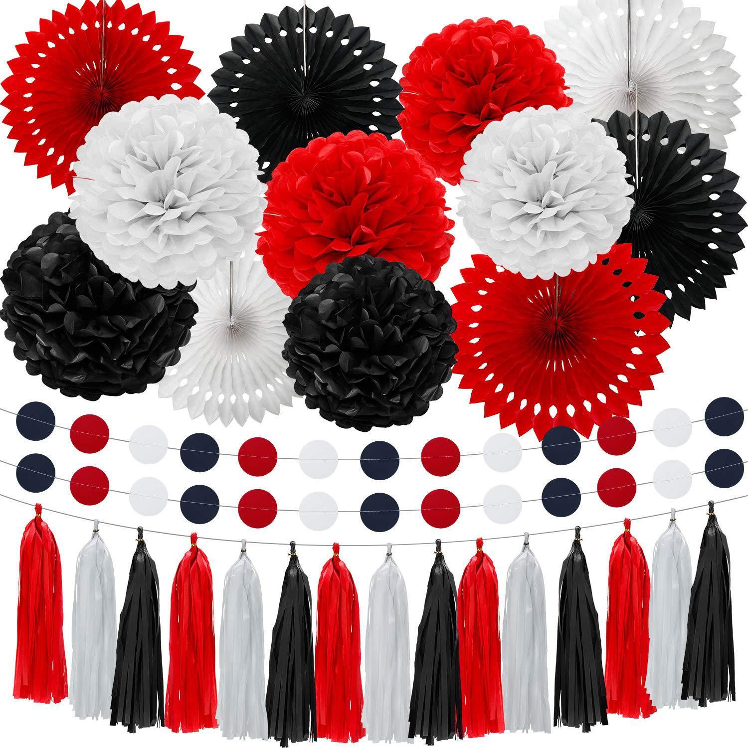 Red White Black Tissue Paper PomPoms Flowers Ball Hollow Fans Tassel Garland Dots Graduation Ceremony Party Decoration Set