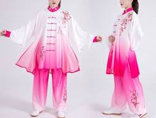 Unisex embroidery plum blossom Tai chi suit gradient wushu taijiquan uniforms breathable kung fu martial arts clothing(China)
