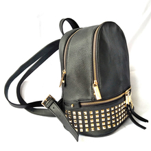 luxury Leather Backpack Women Black rivet bag brand Waterpro