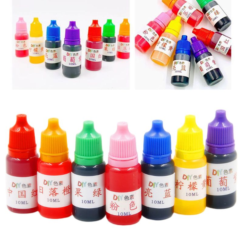 7 Pcs/set 10ml Food Grade Dyeing Pigment Slime Crystal Mud Colorant Epoxy Crystal DIY Hand-Made Jewelry Accessories