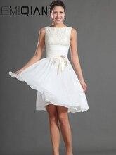 Einfache Cocktail Kleid, Knielangen Short Prom Kleid, Chiffon & Spitze Homecoming Kleider