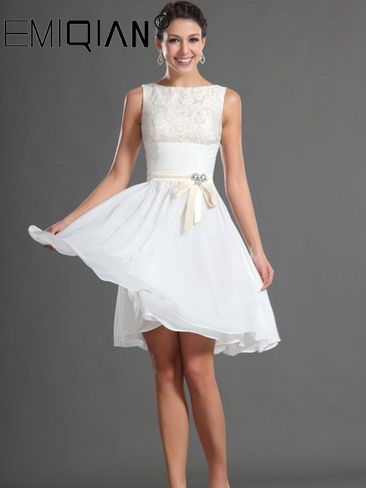 Simple Cocktail Dress, Tank Knee Length Short Prom Dress,Chiffon & Lace Homecoming Dresses