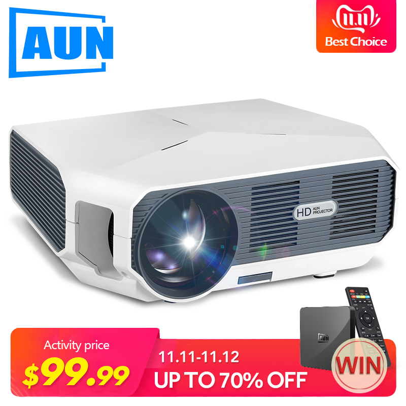 AUN ET MINI projecteur HD, 1280x720 P, projecteur vidéo. 3800 Luminosité. 3D Cinéma. Prise en charge 1080 P, HD-IN, USB (Version Android en option)