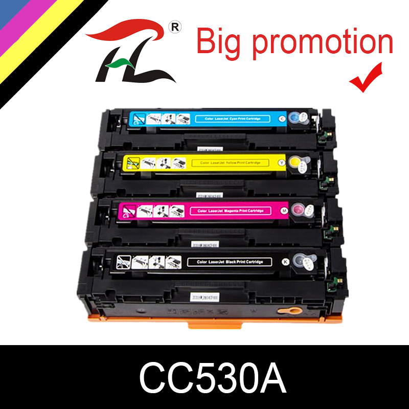 LIGUE 1set Cartouche De Toner Compatible CC530A CC531A CC532A CC533A pour HP Color LaserJet CM2320nf CP2025 CM2320fxi CM2320n CM2320nf
