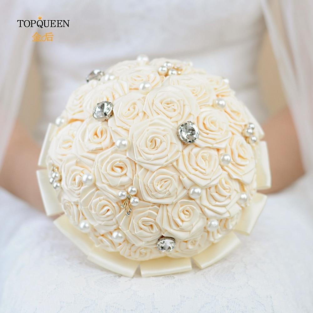TOPQUEEN Ivory Bridal Bouquets Bridesmaid Flower Hand Bouquet Marriage Vintage Wedding Bouquet Wedding Silk Bouquet F6-IV