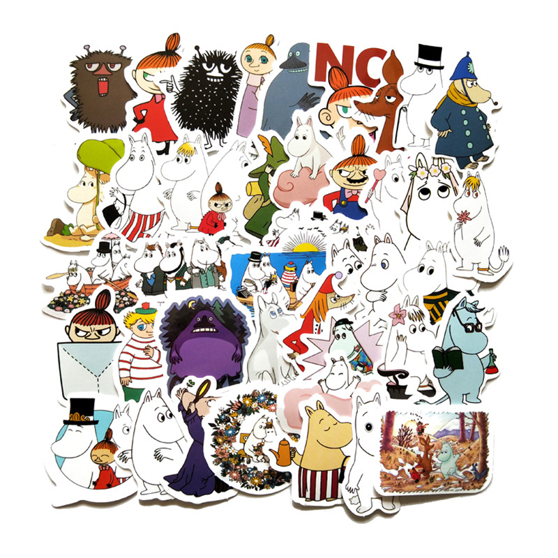 TD ZW Mini 2-3CM 40Pcs Hand Account Cartoon Lovely Moomin Stickers Waterproof Laptop Motorcycle Luggage Fridge Phone Sticker