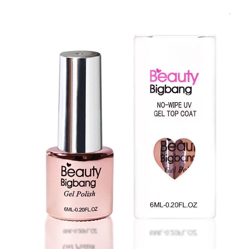 Верхнее покрытие для дизайна ногтей BeautyBigBang, 6 мл, долговечное блестящее отмачиваемый Гель-лак для ногтей, без вытирания, без липкого слоя, бе...