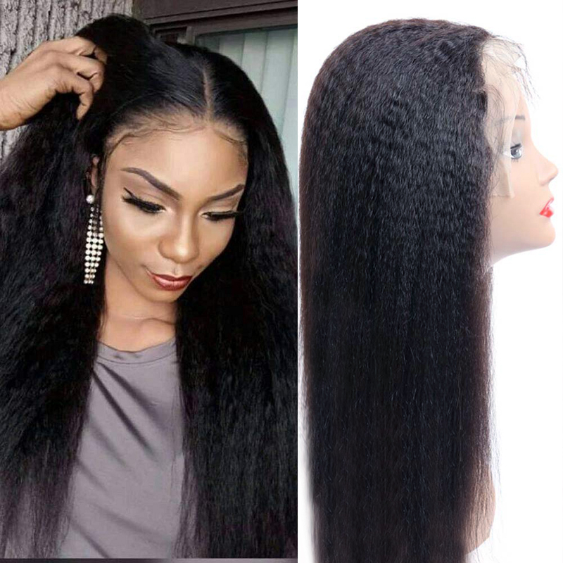 Peluca rizada recta de encaje 13*4 pelucas de cabello humano frontal Peluca de encaje Remy Yaki precortada 4x4 Peluca de cierre de encaje para mujeres negras peluca U parte