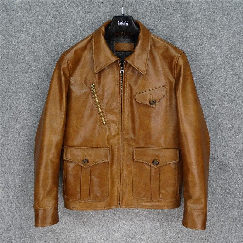 Free Shipping,Classic Newsboy Leather Jacket.warm Vintage Brown Batik Cowhide Coat.men Fashion Genuine Leather Outwear