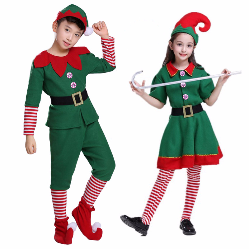 Christmas Elf Grinch Cosplay Costume For Kids Gift Adult Family New Year Xmas Party Dress Green Santa Claus Performance Clothing