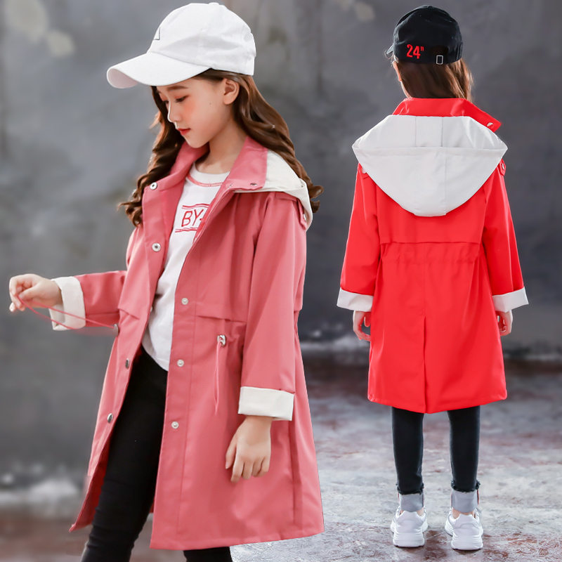 Girls   trench   coats kids windbreaker 2019 spring autumn new teenage long coats outerwear for children clothes 5 7 9 11 13 Year
