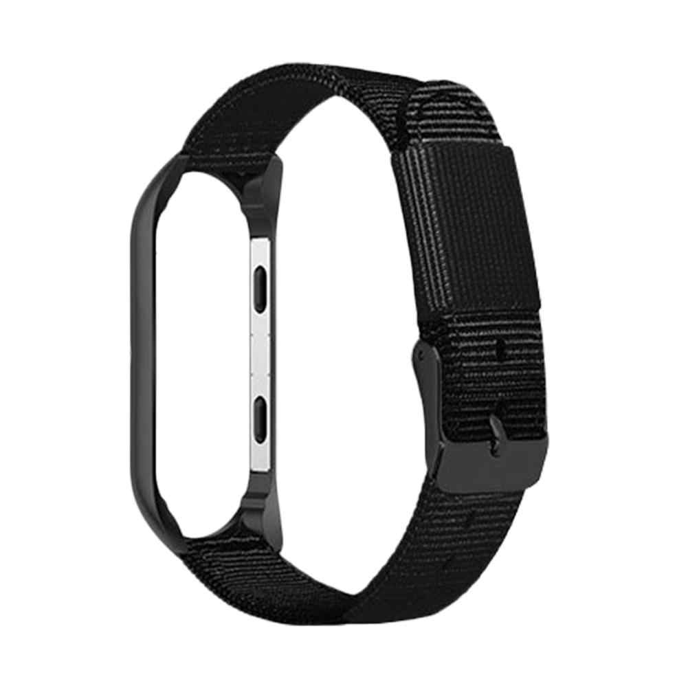 For Xiaomi 3 Xiaomi 4m 3 Mi Band 4 Universal Sports Premium Canvas Replacement Wristband Nylon Strap With Black Frame Watch Band