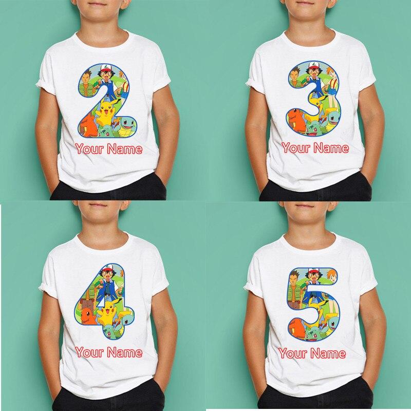Футболка с цифрами на день рождения для мальчиков и девочек с Pokemon, детские топы с коротким рукавом на день рождения, Детские маски, подарок н...
