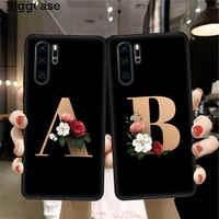 Funda de teléfono de silicona negra con monograma con letras personalizadas para Huawei P10, P20, P30 Lite Pro, carcasa con flores para Huawei P30Lite