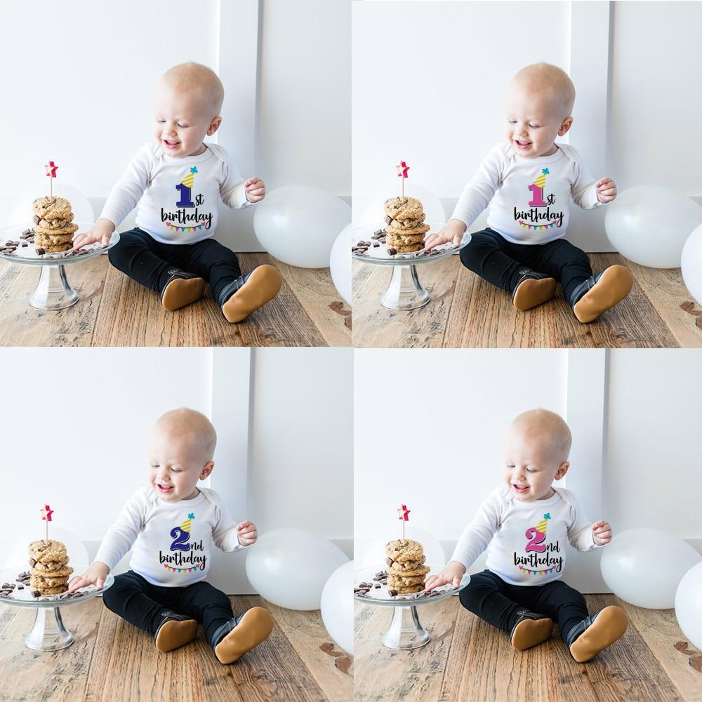 Детские комбинезоны с длинными рукавами для новорожденных, одежда с надписью «My First Birthday» для мальчиков и девочек, детская вечеринка для мал...
