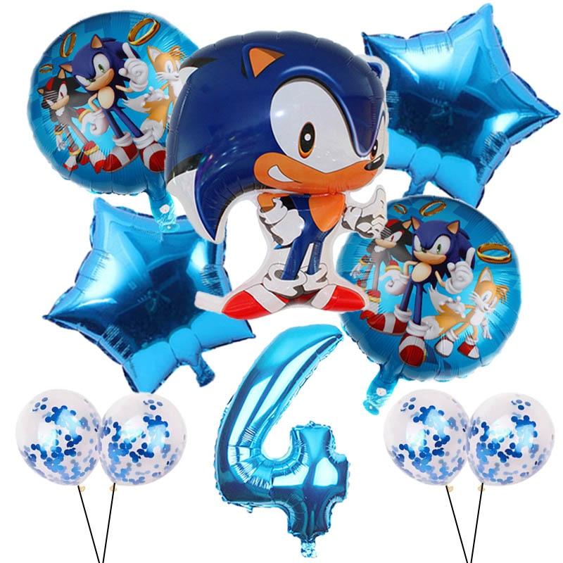 10 pçs dos desenhos animados sonic balões conjunto estrela confetes látex 32 polegada número globos para festa de aniversário decoração suprimentos crianças brinquedo presentes