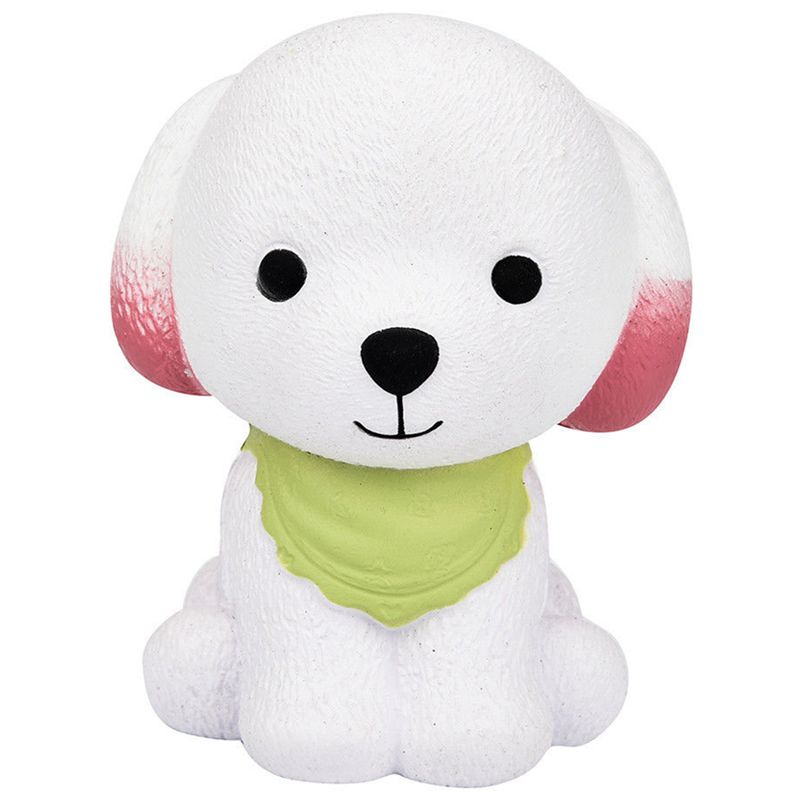1Pcs Jumbo Squishy Cute Puppy Cream Dog Slow Rising Squeeze Decompression Toys Green + White