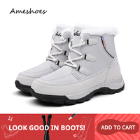 Women Short Ankle Boots Martin Boots Platform Flat Elastic Waterproof Warm Short Plush Gray Black Women Snow Boots 1622